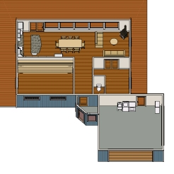Lots of space to create community in the main house.