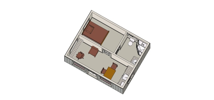 And again, a representation of the cabin furnished. This is where the writers will spend their days working. All they have to do is look up from their keyboards to see Cook Inlet and Iliamna and Redoubt. An inspirational view if ever there was one. Just ask me.