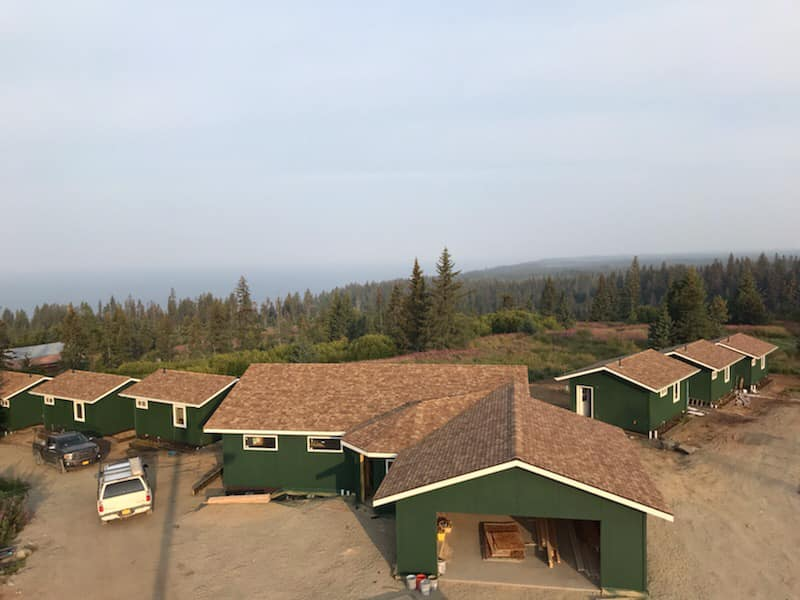 Aerial view of Storyknife taken on 8/25/19, construction in process, view obscured by wildfire smoke.